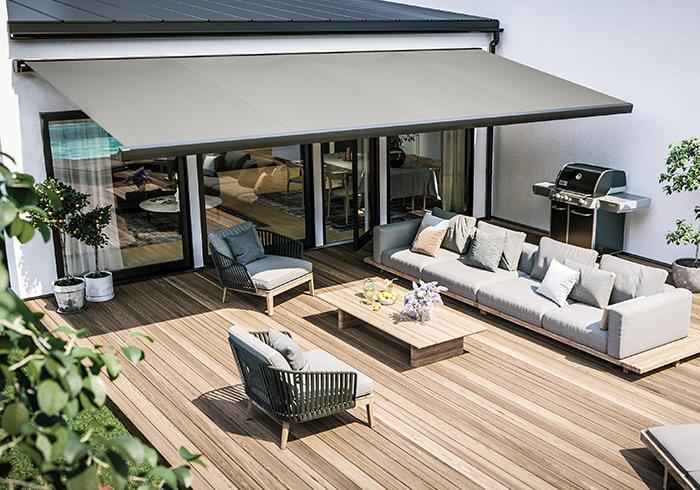 Exklusiv terrassmarkis med hög finish