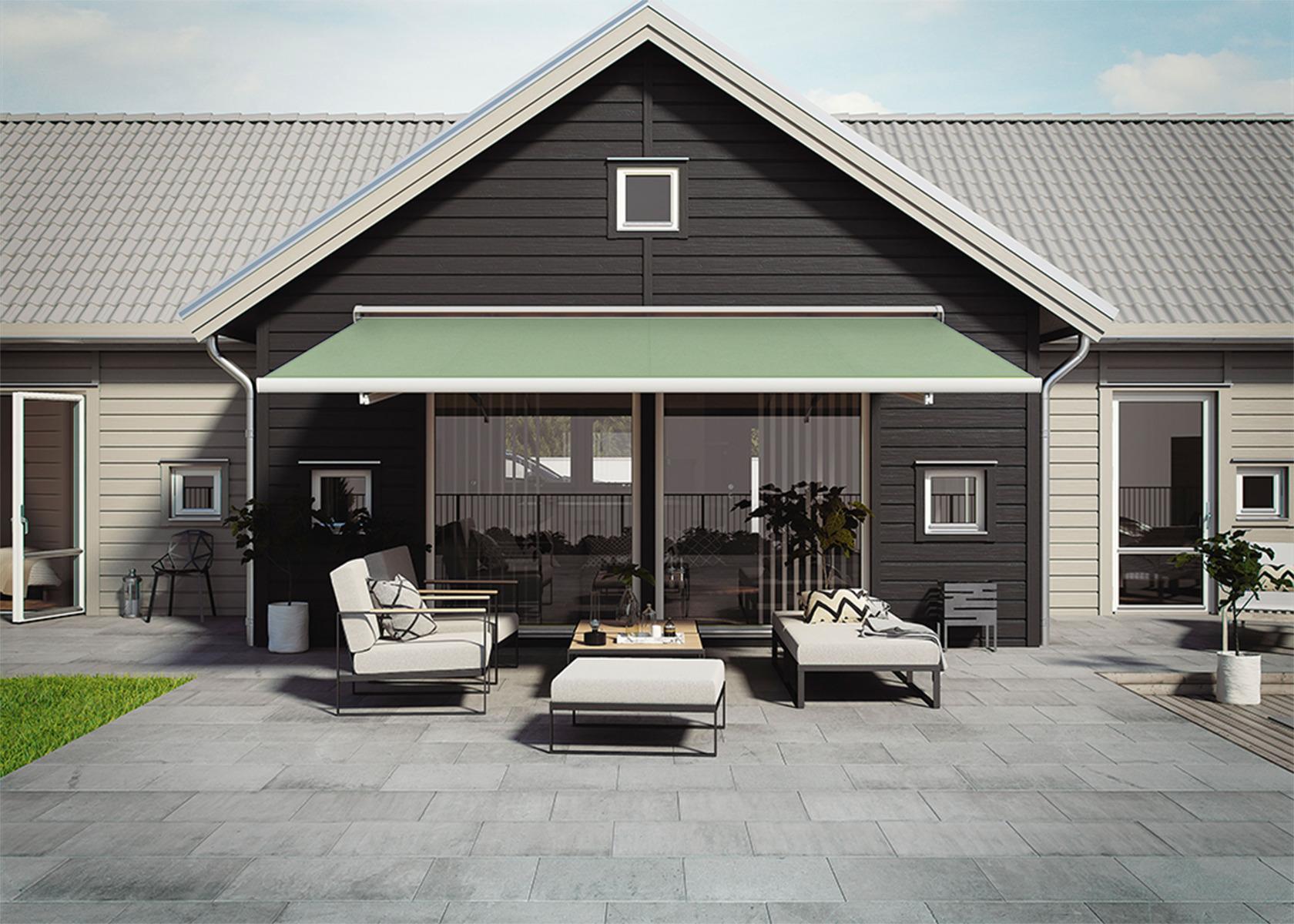 Grön terrassmarkis