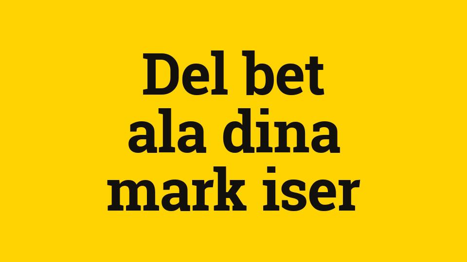 Svart text på gul bakgrund: Delbetala dina markiser